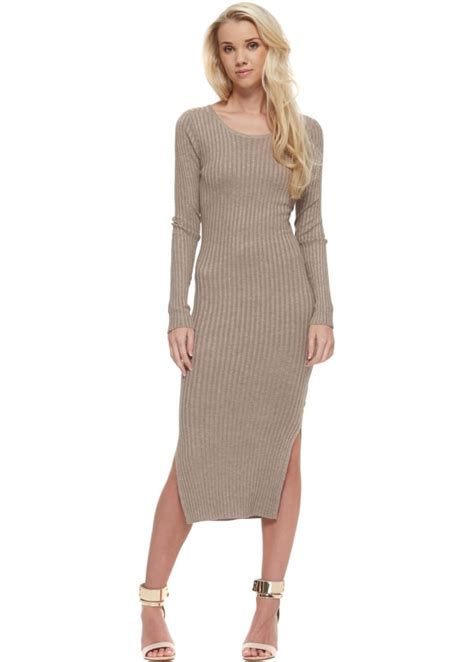Midi Jumper Dress taupe jumper dress slinny rib taupe midi jumper dress