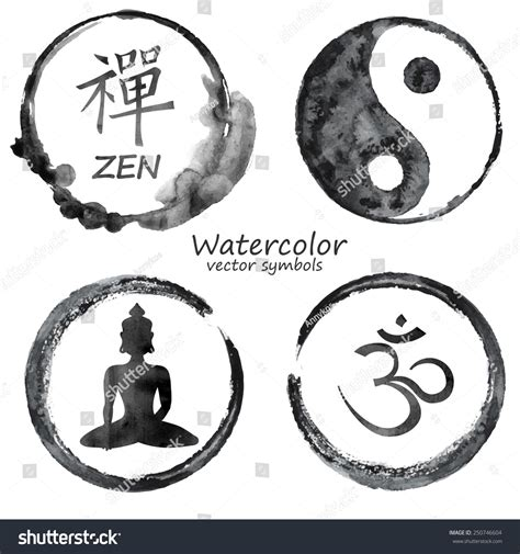vector watercolor set yoga buddhism label stock vector