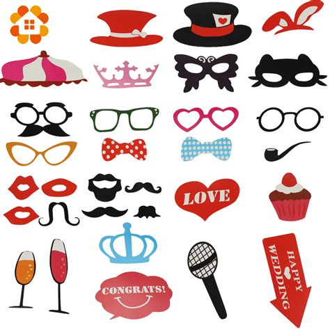 Photo Props Or Topeng 31pcs mustache on a stick wedding photo booth props photobooth masks bridesmaid