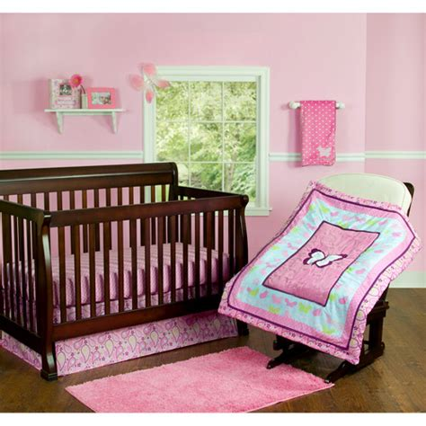 Butterfly Nursery Bedding Set Step By Step Butterfly Crib Bedding 3 Set Pink Walmart