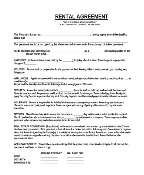 simple rental agreement template word simple rental agreement 34 exles in pdf word free