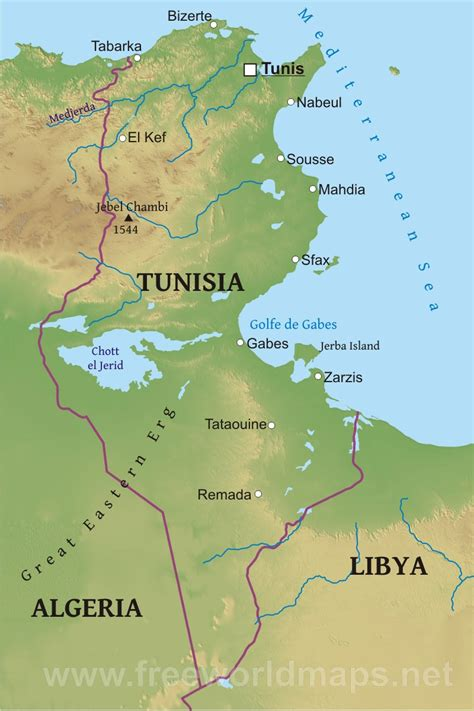 tunisia on map map of tunisia