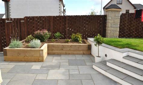 Limestone Planter by Fairstone Black Limestone Paving And Timber Sleeper
