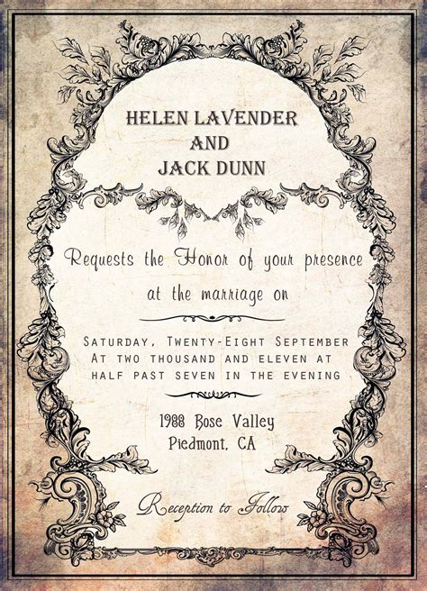 Free Template Wedding Invitation Cards by Invitation Wording Christian Vintage Wedding Invitation