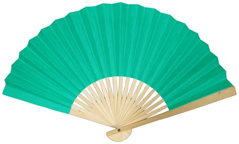 Paper Fans - 9 quot teal folding paper fan for weddings on
