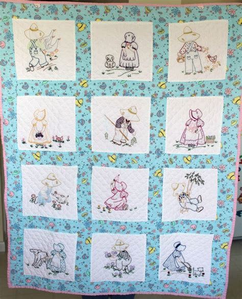Handmade Baby Quilts Patterns - handmade baby quilt embroidered quilted sunbonnet