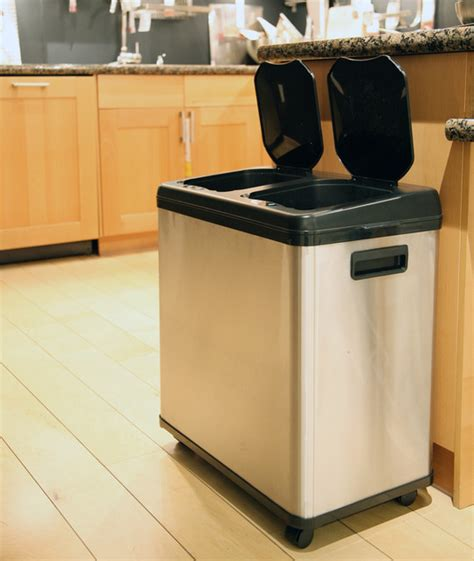 Trash Cans Kitchen by Itouchless Stainless Steel Dual Compartment Touchless