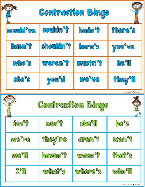 printable contraction games teacher s take out contraction bingo game freebie