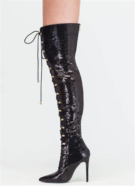 walk sequin pointed toe the knee lace up boots