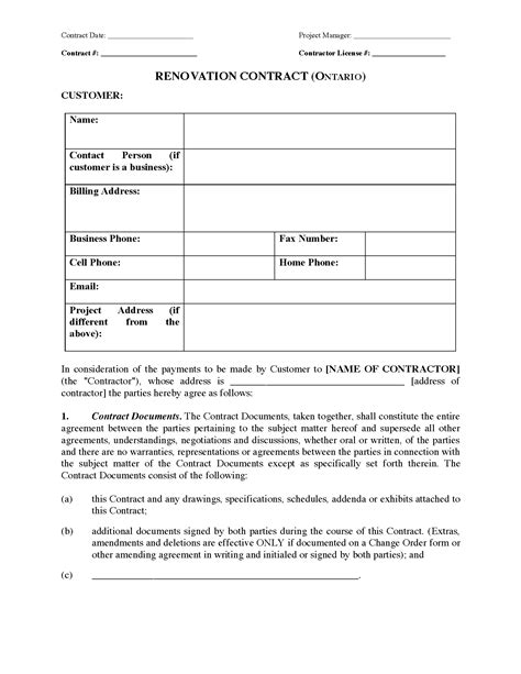 construction contract template canada ontario renovation contract forms and business