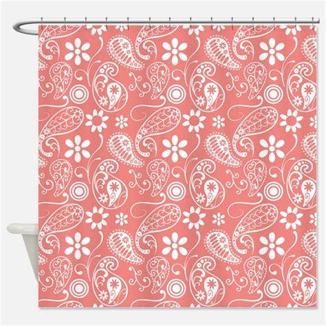 Coral Patterned Curtains Coral Paisley Shower Curtains Coral Paisley Fabric Shower Curtain Liner