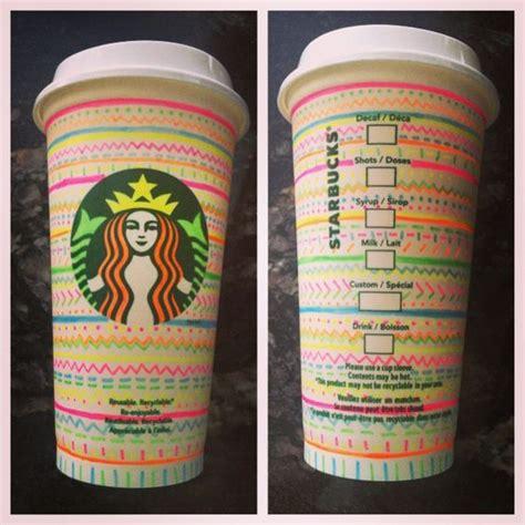 neon sharpie starbucks diy travel coffee cup decorated