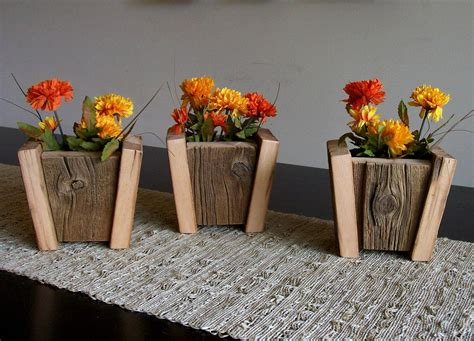 wooden flower planters set of 3 rustic barn wood flower pots