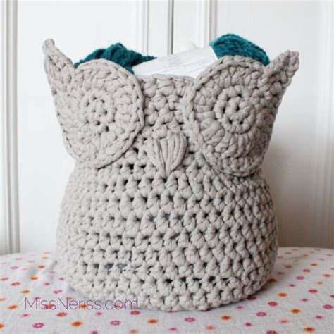 crochet pattern for yarn basket owl zpagetti yarn basket