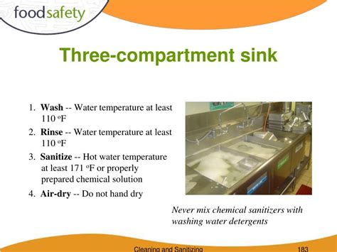 water temperature in 3 compartment sink ppt cleaning and sanitizing powerpoint presentation id