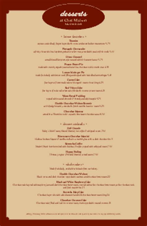 Sle Dessert Menu Dessert Menus Free Dessert Menu Template Word