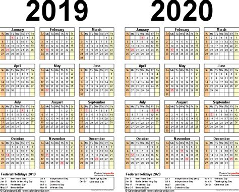 Calendar 2019 Printable With Holidays 2019 2020 Calendar Free Printable Two Year Excel Calendars