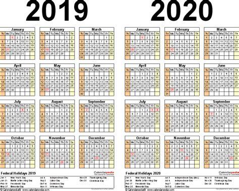 Calendar 2019 And 2020 2019 2020 Calendar Free Printable Two Year Excel Calendars