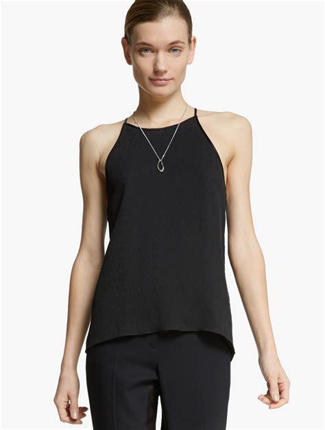 Fashion Black Hardware lyst hardware detail cowl back silk top in black