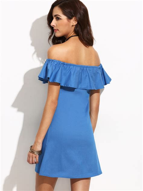 Flashed Frill Dress frill bardot neckline dress shein sheinside