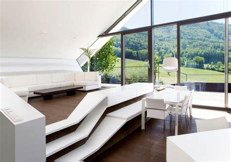 futuristic home interior slope roof house with futuristic interiors