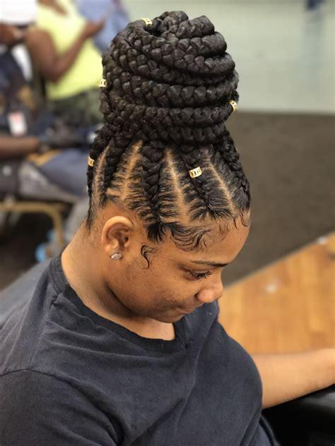 feedinbraids braids with bun bun ponytailhairstyles ponytail bun braids braidsandtwists