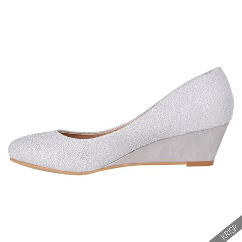 Wedges Slipon Levis womens plain wedge court shoes low mid high heel slip on pumps office au ebay