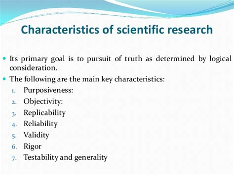 presentation on the characteristic of scientific research 1