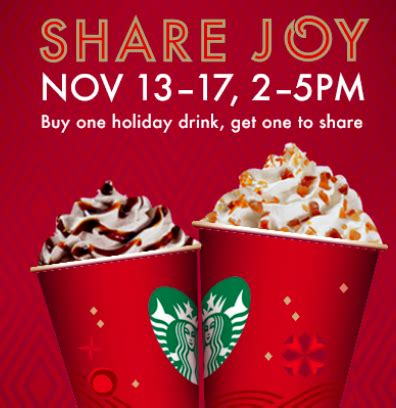 Deals November 13 2006 2 by Starbucks Buy One Beverage Get One Free