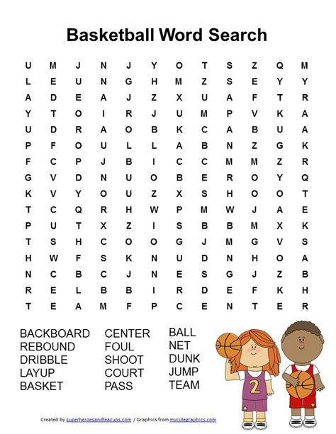 Www Search Free Basketball Word Search Free Printable