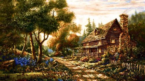 Deer Wall Mural 1920x1080 forest cottage path flowers desktop pc and mac