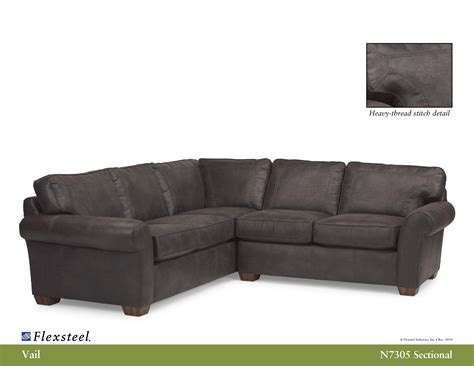 Flex Steel Sectionals by Flexsteel Nuvo Leather N7305 Vail Sectional