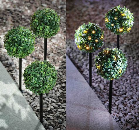 artificial topiary balls with solar lights 3 pack solar powered topiary stake ball light 27 led dual