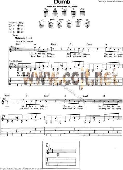guitar tutorial nirvana dumb by nirvana free guitar sheet music tabs chords