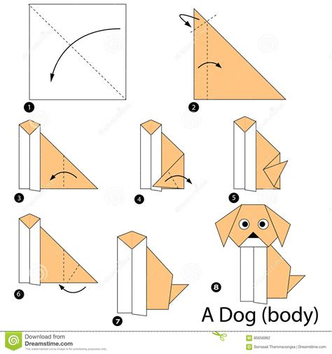 Step By Step Origami Animals - step by step how to make origami a dogbody