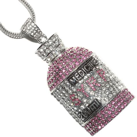 iced out lil wayne syrp bottle pendant 30 quot 36 quot franco