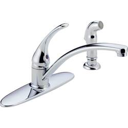 single handle kitchen faucet with side spray delta foundations single handle standard kitchen faucet with side sprayer in stainless b4410lf