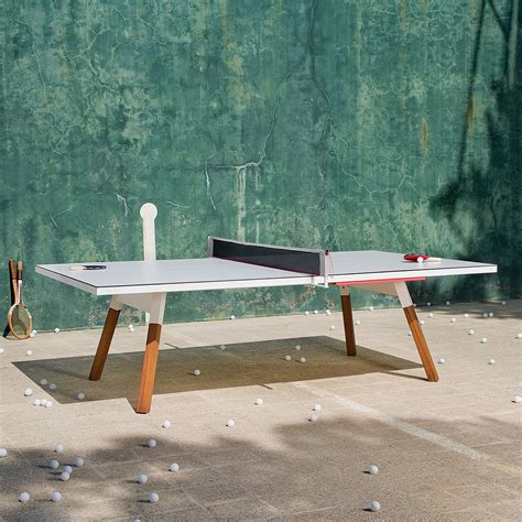 standard outdoor ping pong table in white thos baker
