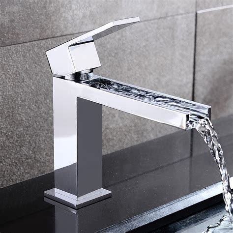 Modern Bathroom Sinks And Faucets Fiego Modern Chrome Waterfall Single Faucet For Bathroom Sinks Bathroom Sink Faucets