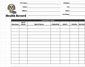 Pet Templates by Puppy Records Template Pet Health Record Template Pet