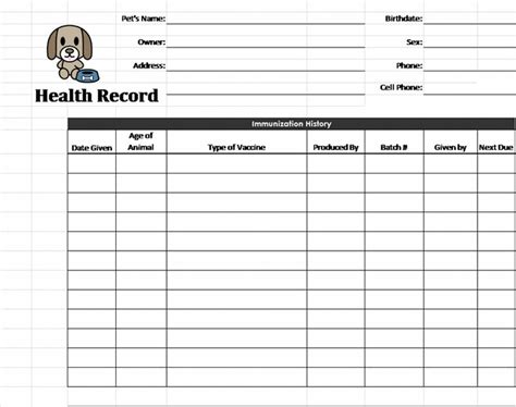 records template puppy records template pet health record template pet
