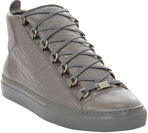 balenciaga arena sneaker lyst balenciaga arena hightop sneakers in gray for