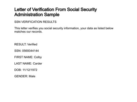 Verification Letter Social Security Number Letter Of Verification