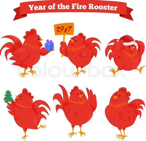 new year 2015 year of rooster set of zodiac rooster vector