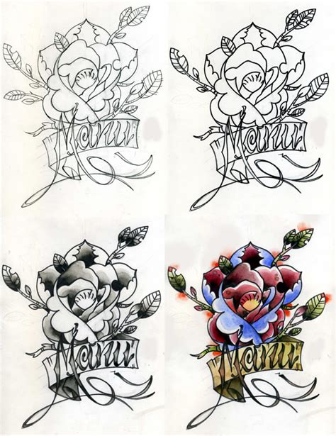 rose tattoo tutorial tutorial and name by onibaka on deviantart