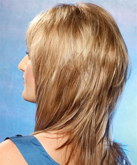 swept back casual haircust long straight casual hairstyle with side swept bangs golden