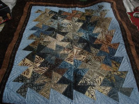 1 Set Batik 4 lil wall hanging done in blues and browns batik quilts handmade