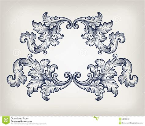 baroque pattern frame 18 vintage scroll frame vector images free vintage