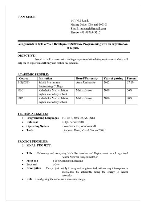 format for curriculum vitae for freshers achievements in resume exles for freshers achievements in resume exles for freshers how
