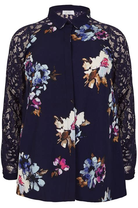 3 4 Sleeve Floral Print Shirt yours navy floral print shirt with lace sleeves